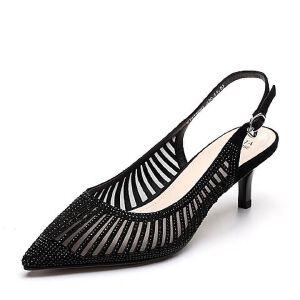Tata/他她2018春专柜同款羊皮网纱水钻尖头细高跟女凉鞋S1411AH8