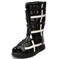 比比我春秋新款真皮网靴平底网纱女童长靴镂空鱼嘴女童鞋