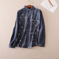 韩版显瘦燕尾式 秋季女装 长袖单排扣印花牛仔衬衫 WB3093