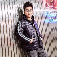 男童轻薄羽绒服2018冬款新款中大童12-15岁90绒羽绒上衣潮 黑色 140cm(吊牌140码,建议135-145高