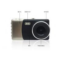 新款行车记录仪高清4.0寸大屏前后双镜头双录停车监控仪 黑色