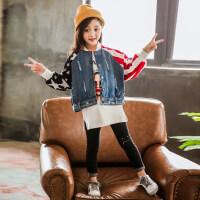 女童秋装牛仔外套2018秋季新款儿童春秋外套女宝宝韩版秋季夹克衫yly 牛蓝色