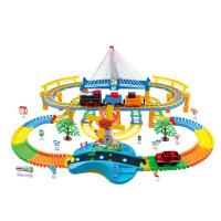 儿童玩具电动轨道火车汽车时光列车DIY轨道车仿真音乐灯 6800