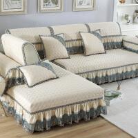 欧式沙发垫四季防滑通用现代简约布艺皮沙发套罩全包盖型客厅 米白色 梦娜丝