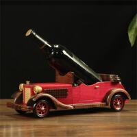 美式乡村复古老爷车红酒架实木手工个性欧式木质车模红酒架葡萄酒托家居装饰创意摆件