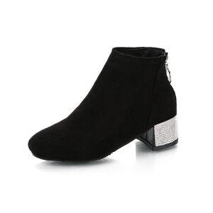 WARORWAR新品YM29-7932秋冬韩版磨砂反绒粗跟高跟女士靴子短靴