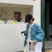 冬季圆领棉衣外套女韩版保暖小棉袄宽松菱格女 蓝色 均码