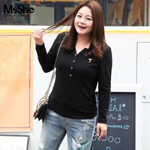 MsShe加肥加大码女装2017新款秋装胖妹妹长袖修身t恤M1710610