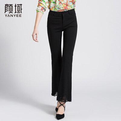 颜域新款弹性紧身休闲裤修身显瘦蕾丝拼接喇叭裤黑色长款裤子女薄