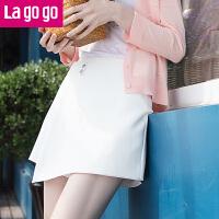 Lagogo2019夏季新款不��t黑白色高腰�腿短�假半身裙女修身百搭
