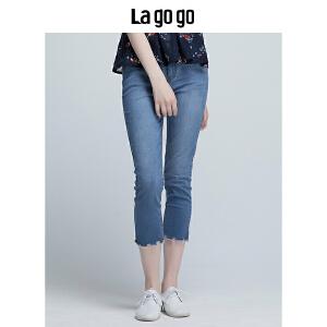 Lagogo/拉谷谷2018年夏季新款时尚修身花边女牛仔裤HANN434F61