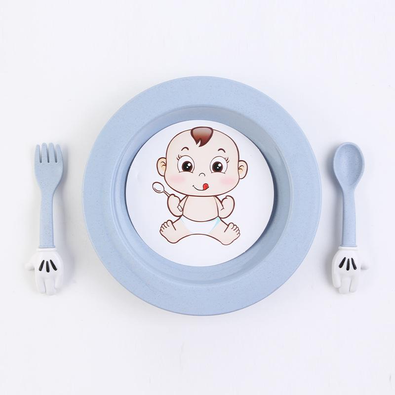 餐具套装 创意环保小麦家用幼儿园儿童学生卡通餐盘宝宝便携式三件套