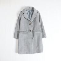 女秋冬毛呢外套 中长款西装领修身甜美百搭大衣18X