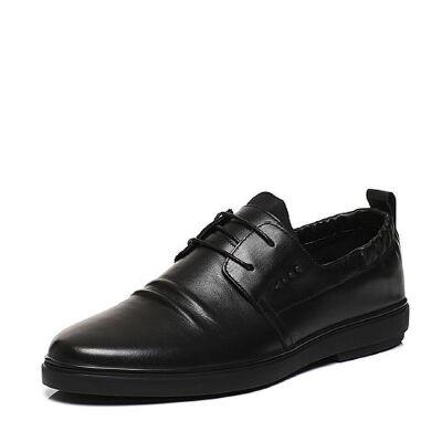 Belle/百丽春专柜同款牛皮褶皱鞋面系带男休闲鞋4SV01AM7