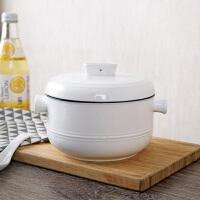 陶瓷双耳汤碗带盖大号泡面碗家用餐具陶瓷碗创意汤盆蒸蛋吃面大碗
