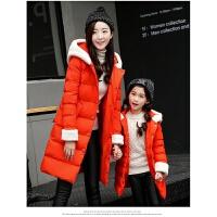 亲中长款棉衣外套新款韩版连帽中长款童装母女装棉袄大衣
