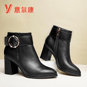 意尔康女鞋时尚金属圆扣粗跟尖头女踝靴女短靴保暖魅力女士靴子