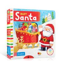 【顺丰速运】英文原版 Busy Santa 繁忙的圣诞老人 进口机关操作活动玩具纸板书 亲子学前早教 1-5岁儿童英语