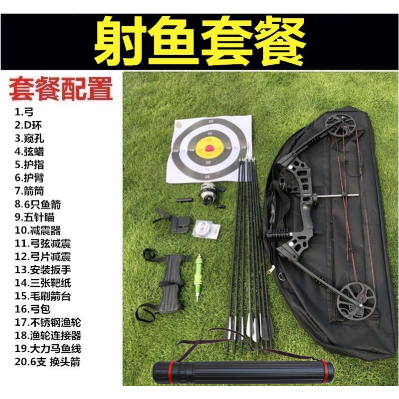 复合弓弓箭套装射击运动竞技户外射鱼器合金滑轮反曲弓箭禁止狩猎