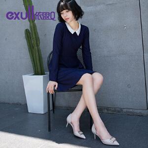 依思q秋季新款单鞋后包跟尖头中空细跟女鞋