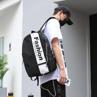 双肩包男韩版个性街头休闲旅行背包时尚潮流初中高中学生充电书包