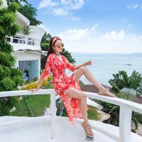 2018夏季女波西米亚雪纺高腰连衣裙 海边度假沙滩长裙 桔