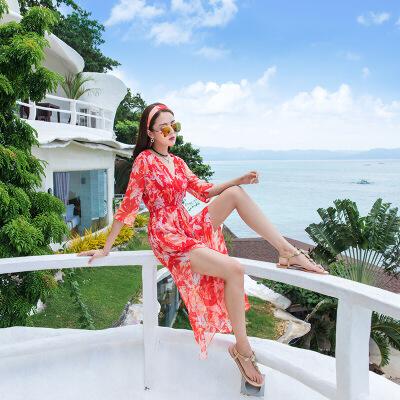 2018夏季女波西米亚雪纺高腰连衣裙 海边度假沙滩长裙 桔 发货周期:一般在付款后2-90天左右发货,具体发货时间请以与客服协商的时间为准