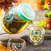 爱屋格林花茶杯家用杯具耐热玻璃茶壶带盖过滤带茶隔凉水壶对杯