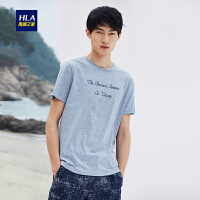 HLA/海澜之家圆领条纹短袖T恤2018夏季新品舒适花纱短袖T恤男