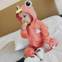 婴儿秋装衣服新生儿爬服男韩版外出服纯棉长袖哈衣宝宝连体衣