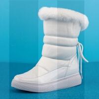 加厚冬季新款2018短筒靴白色防水雪地棉靴子平底百搭加绒保暖女鞋SN3401 白色【兔毛】C 款