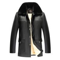 №【2019新款】冬天胖人穿的中老年皮衣男爸爸装加肥加大码夹克中年皮毛一体外套