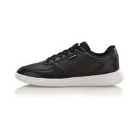 李宁女鞋时尚休闲鞋板鞋小黑鞋白色运动鞋AGLM016