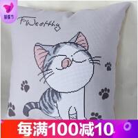 新款5D印花十字绣线绣抱枕简约现代客厅卡通可爱猫汽车抱枕简单绣