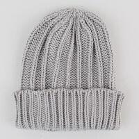 韩版秋冬季儿童毛线帽子婴儿针织套头帽男女宝宝加厚保暖护耳帽潮yly 灰色 纯色毛线 均码