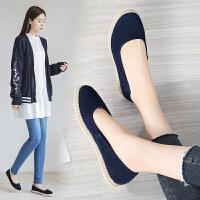 春季浅口平底休闲布鞋女新款一脚蹬懒人鞋大码老北京布鞋女