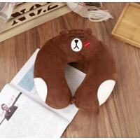 卡通熊本U型枕头枕布朗熊午睡枕飞机枕毛绒护颈枕U枕旅行枕