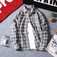 男士衬衣长袖韩版秋文艺休闲格子衬衫外套