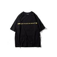 T恤男短袖圆领潮流2018夏季韩版宽松印花学生半袖 黑色 S