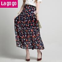 【5折价144】Lagogo2018夏季新款女高腰单排扣雪纺小碎花半身裙沙滩裙百褶长裙HABB304A30