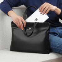 手提包男士商务公文包休闲软皮大容量单肩斜挎包简约电脑包男包包