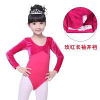 儿童舞蹈服装夏季练功服民族女童芭蕾舞服短袖演出服金丝绒连体服 110cm(XL 110-120cm)