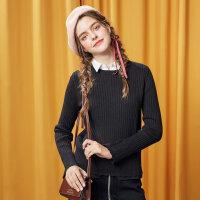 【1件3折到手价:53.97】美特斯邦威冬装新款chic毛衣女衬衫领毛衫学生韩甜美商场款R