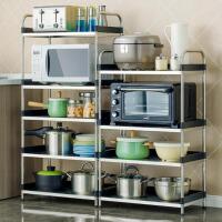 不锈钢厨房置物架微波炉架落地多层厨房用品收纳储物架ik1