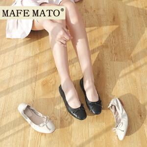 玛菲玛图新款韩版百搭平跟软底豆豆鞋春季女甜美蝴蝶结休闲真皮单鞋M1981201820T2