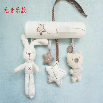 ?婴儿推车毛绒兔子挂件车挂床挂安全座椅毛绒音乐摇铃玩具?