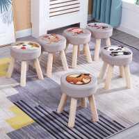 凳子家用客厅布艺小板凳创意圆凳成人小木凳沙发凳实木矮凳化妆凳