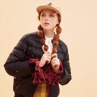 美特斯邦威轻羽绒服女短款冬装新款休闲棒球领外套潮商场款