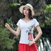 新款大码女装 民族风绣花打底衫 圆领短袖棉t恤A6360