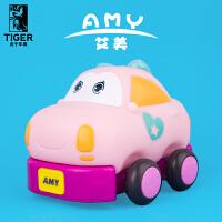 宝宝耐摔儿童玩具车迷你回力玩具软胶可爱惯性小汽车模型男孩 甲壳虫艾美 盒装
